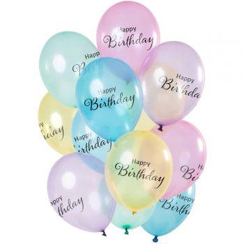 Strauß 12 transparente Pastell-Ballons Happy Birthday