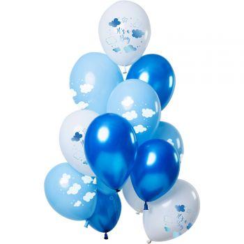 Bouquet 12 Luftballons It es a boy töne blau