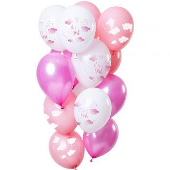Bouquet 12 Luftballons It es a boy töne rosa