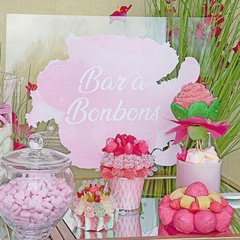 Tabelle plexi Bar mit Süßigkeiten