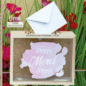 Transparente Holzurne Dank rosa