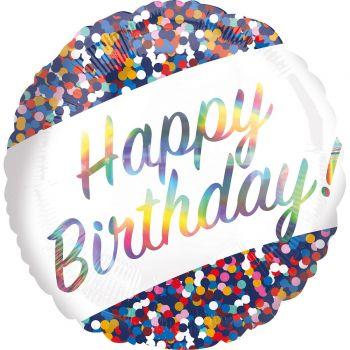 Helium-Ballon Happy Birthday Iris Confettis 43cm