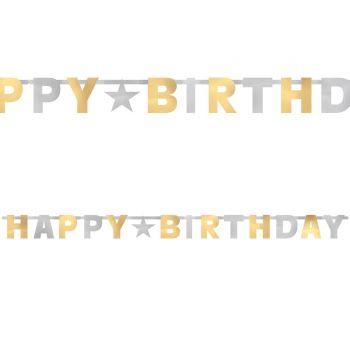 Banner Happy Birthday gold silber metallisiert