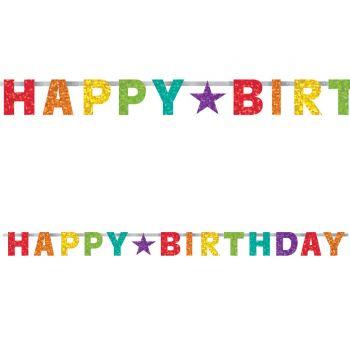 Banner Happy Birthday rainbow metallisiert