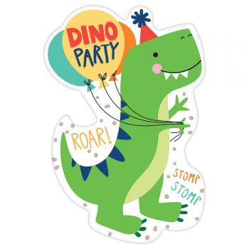 8 Karten Einladungen dino party