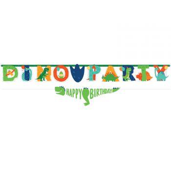 Girlande dino party Happy Birthday