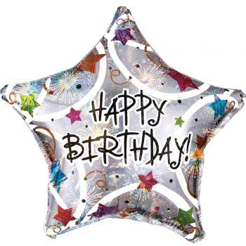 Helium-Ballon Happy Birthday Stars farbig irisiert 43cm