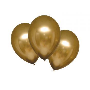6 Metall-Ballons Luxus Satingold