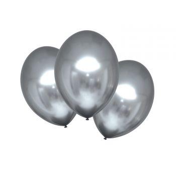 6 Metall-Ballons Luxus Silber