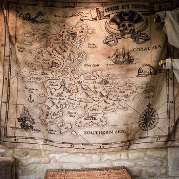 Wand tenture Jagd nach Schatz piraten Stoff