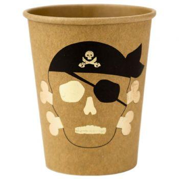 8 Becher Kraft Köpfe Piraten vergolden