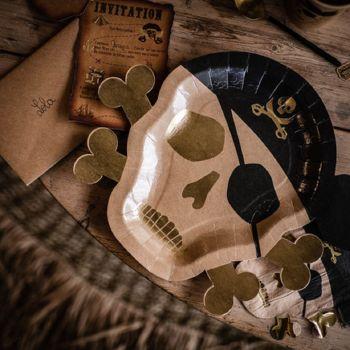 8 Teller Kraft Köpfe Piraten vergolden