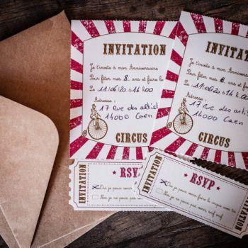 8 Einladungen circus vintage mit kraft umhüllungen