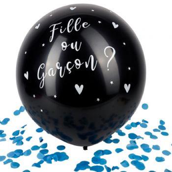 Riesen-Ballon schwarz Mädchen oder Junge Gender reveal konfetti blau