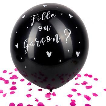 Riesen-Ballon schwarz Mädchen oder Junge Gender reveal konfetti rosa