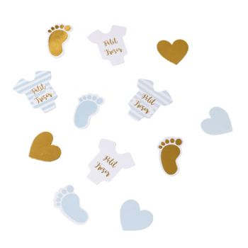 100 Konfetti kleines Wunder blau weiß gold