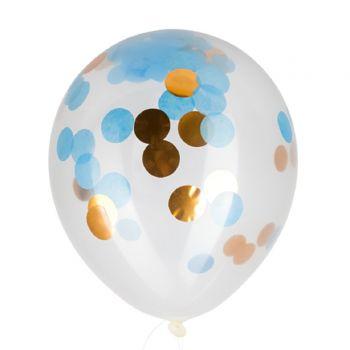 3 Ballons Konfetti blau und gold
