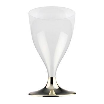 10 Wein-/Wasser-Glas-Kunststoff Chrom-Füße