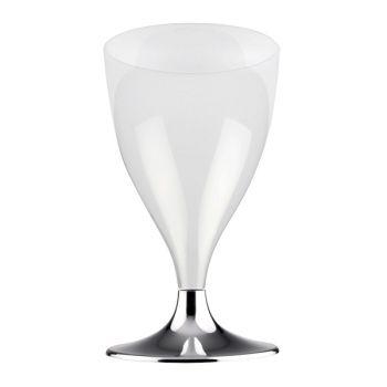 10 Glas-Wein/Wasser Kunststoff Füße Silber verchromt
