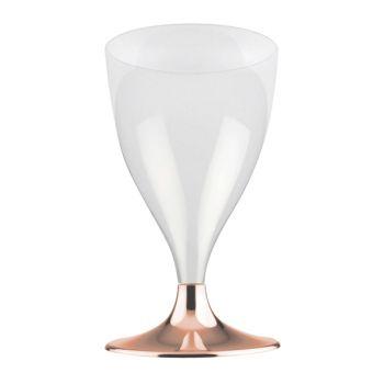 10 Wein-/Wasser-Glas Aus Kunststoff Füße gold gechromt