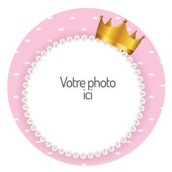 Zucker-Scheibe für personalisierte Kuchen Prinzessin Krone