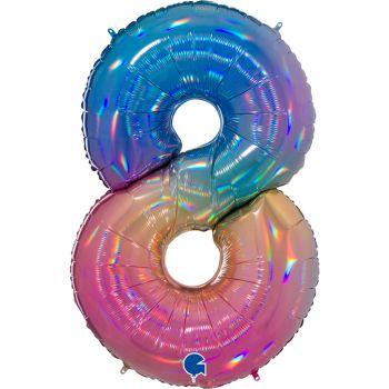Riesiger Ballon helium ziffer 8 rainbow pastell
