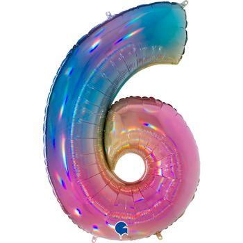 Riesiger Ballon helium ziffer 6 rainbow pastell