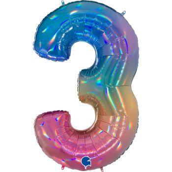 Riesiger Ballon helium ziffer 3 rainbow pastell