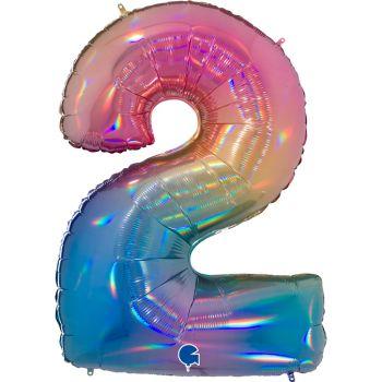 Riesiger Ballon helium ziffer 2 rainbow pastell