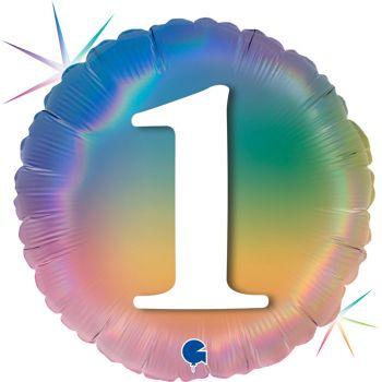 Ballon helium rond figur 1 rainbow pastell
