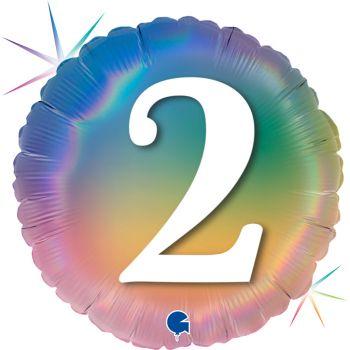 Ballon helium rond figur 2 rainbow pastell