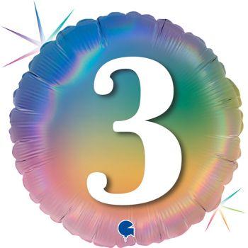 Helium-Ballon runde Ziffer 3 rainbow pastell