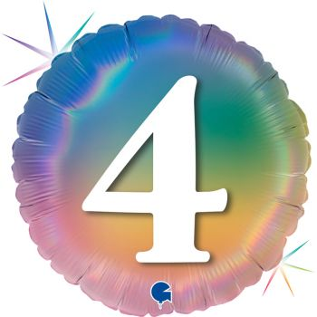 Ballon helium runde Ziffer 4 rainbow pastell