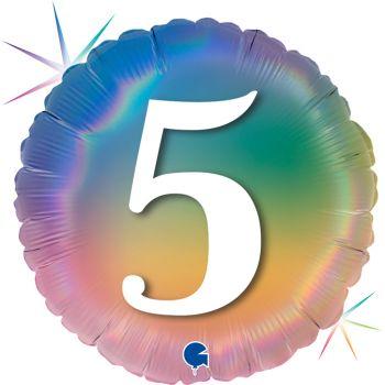 Ballon helium runde Ziffer 5 rainbow pastell