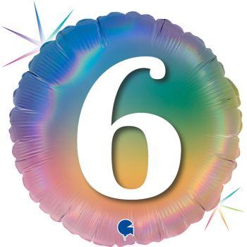 Ballon helium runde Ziffer 6 rainbow pastell