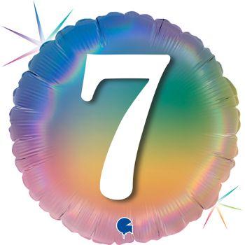 Ballon helium runde Ziffer 7 rainbow pastell