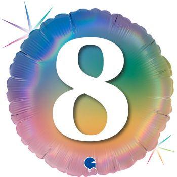 Ballon helium runde ziffer 8 rainbow pastell