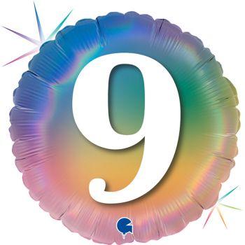 Ballon helium runde Ziffer 9 rainbow pastell
