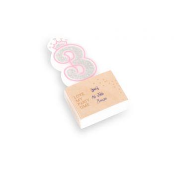 Kerze Ziffer 3 Prinzessin rosa glitzerte Silber