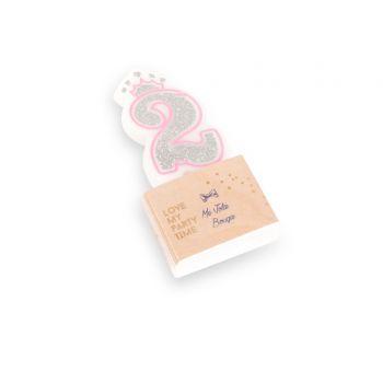 Kerze Ziffer 2 Prinzessin rosa glitzerte Silber