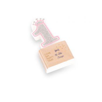 Kerze Ziffer 1 Rosa Prinzessin glitzerte Silber