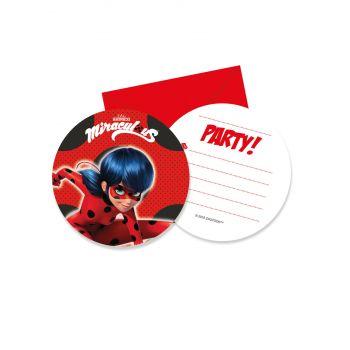 6 Einladungskarten Ladybug Miraculous