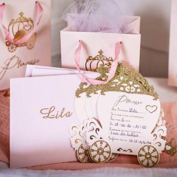 8 Einladungen Prinzessin glitzerte Rosa Gold