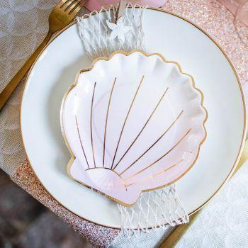 8 Muschel-Teller rosa und gold