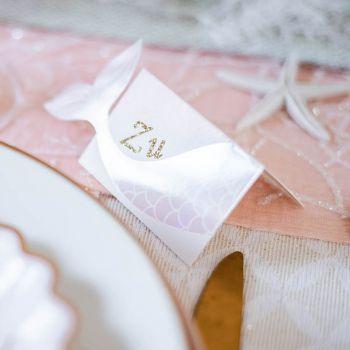 8 Tischkartenhalter Meerjungfrau rosa
