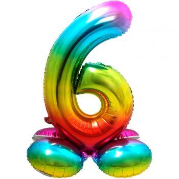 Riesiger Ballon-Zahl zu landen Regenbogen Nr. 6