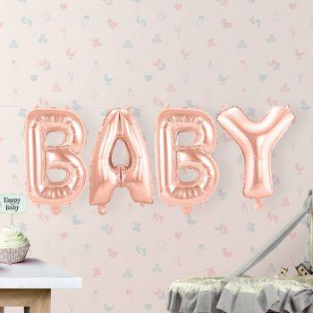 Baby Ballon Girlande rosa
