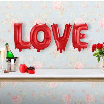 Rote Love Ballons Girlande
