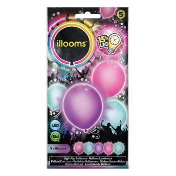 5 Lichtballons pastellfarben