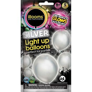 5 Silber leuchtende Luftballons